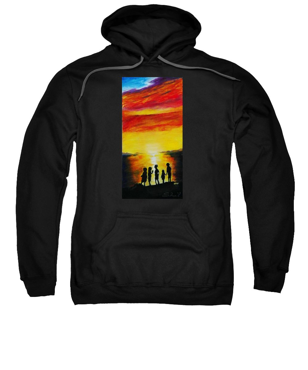 Great Salt Lake Sweatshirt featuring the painting Sunset On The Great Salt Lake by Sherril Porter
