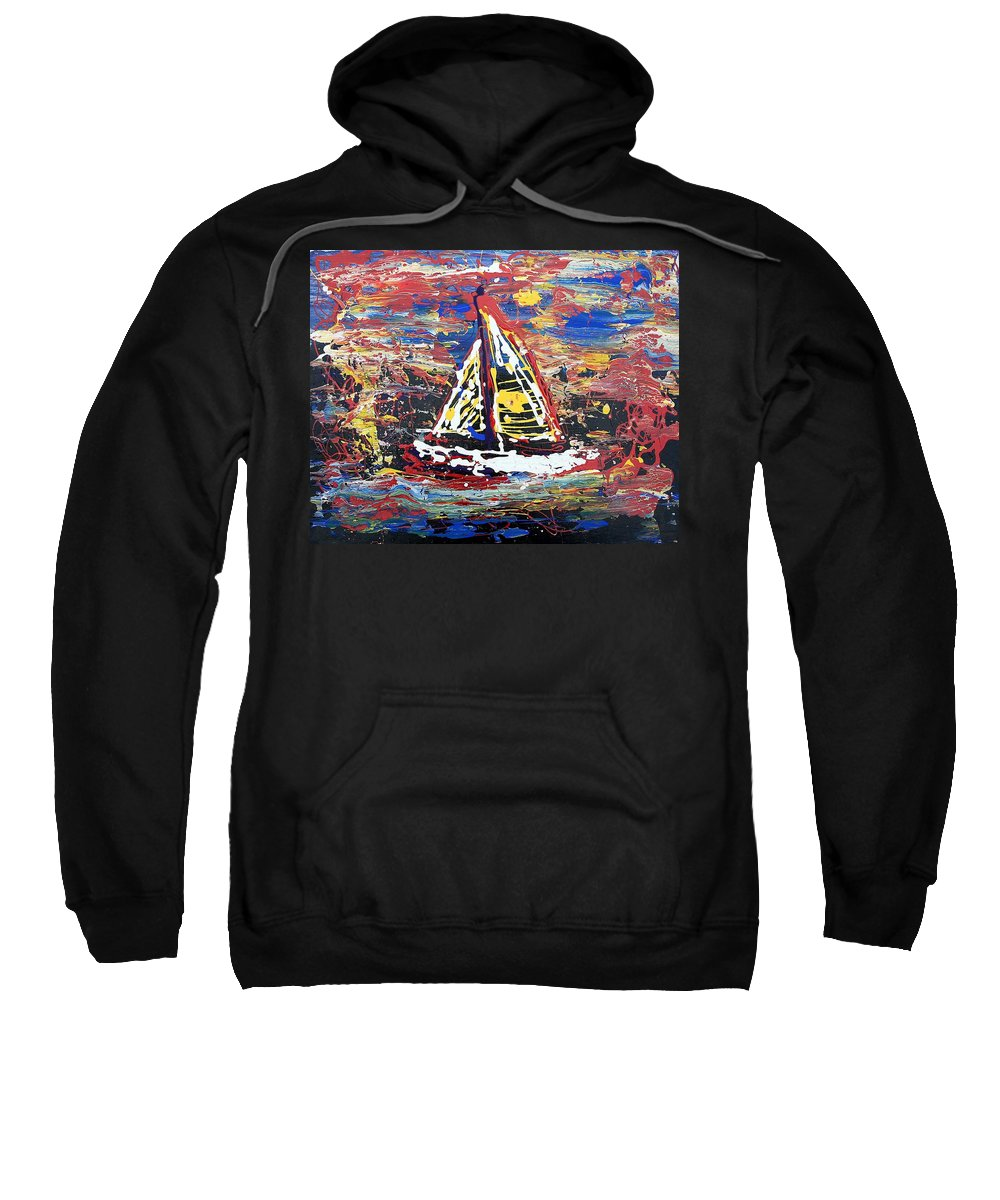Sailboat Sweatshirt featuring the painting Sunset On The Lake by J R Seymour