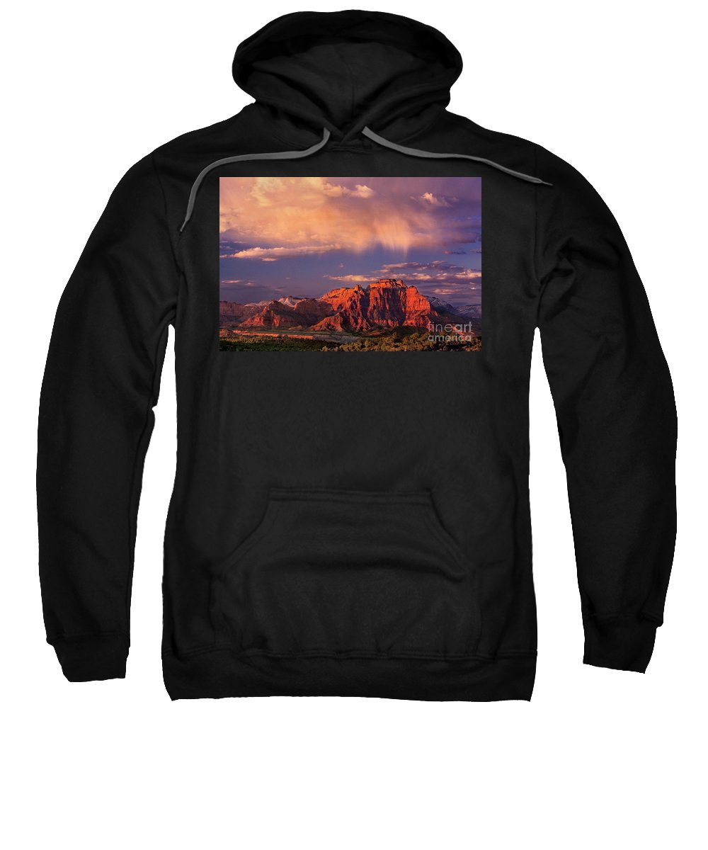 North America Sweatshirt featuring the photograph Sunset On West Temple Zion National Park by Dave Welling