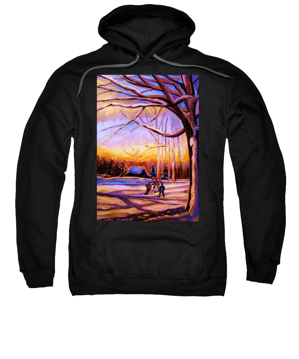 Sunset Over Hockey Sweatshirt featuring the painting Sunset Over The Hockey Game by Carole Spandau