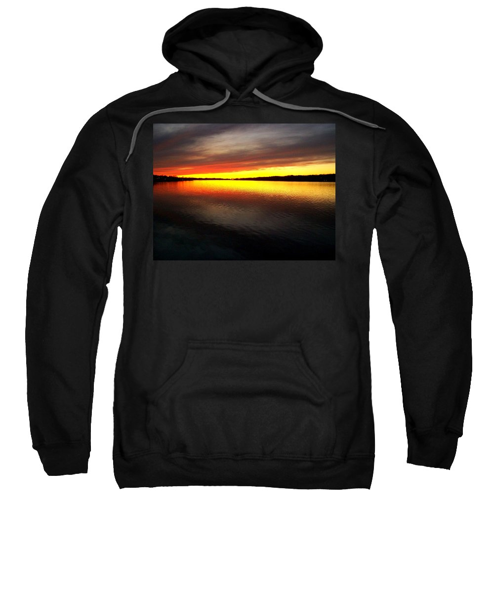 Gold Sweatshirt featuring the photograph Sunset Over The Lake by Michelle Calkins