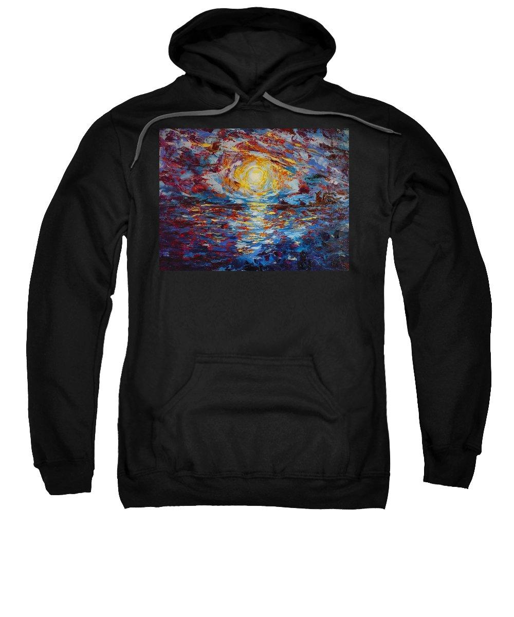Sunset Sweatshirt featuring the painting Sunset Pandora by Ericka Herazo