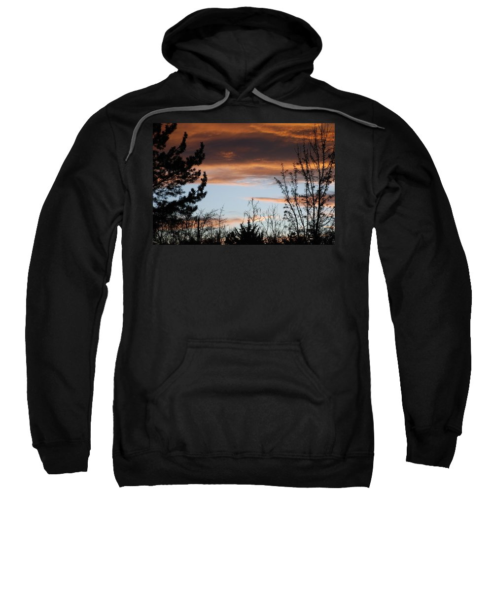 Sunset Sweatshirt featuring the photograph Sunset Thru The Trees by Rob Hans