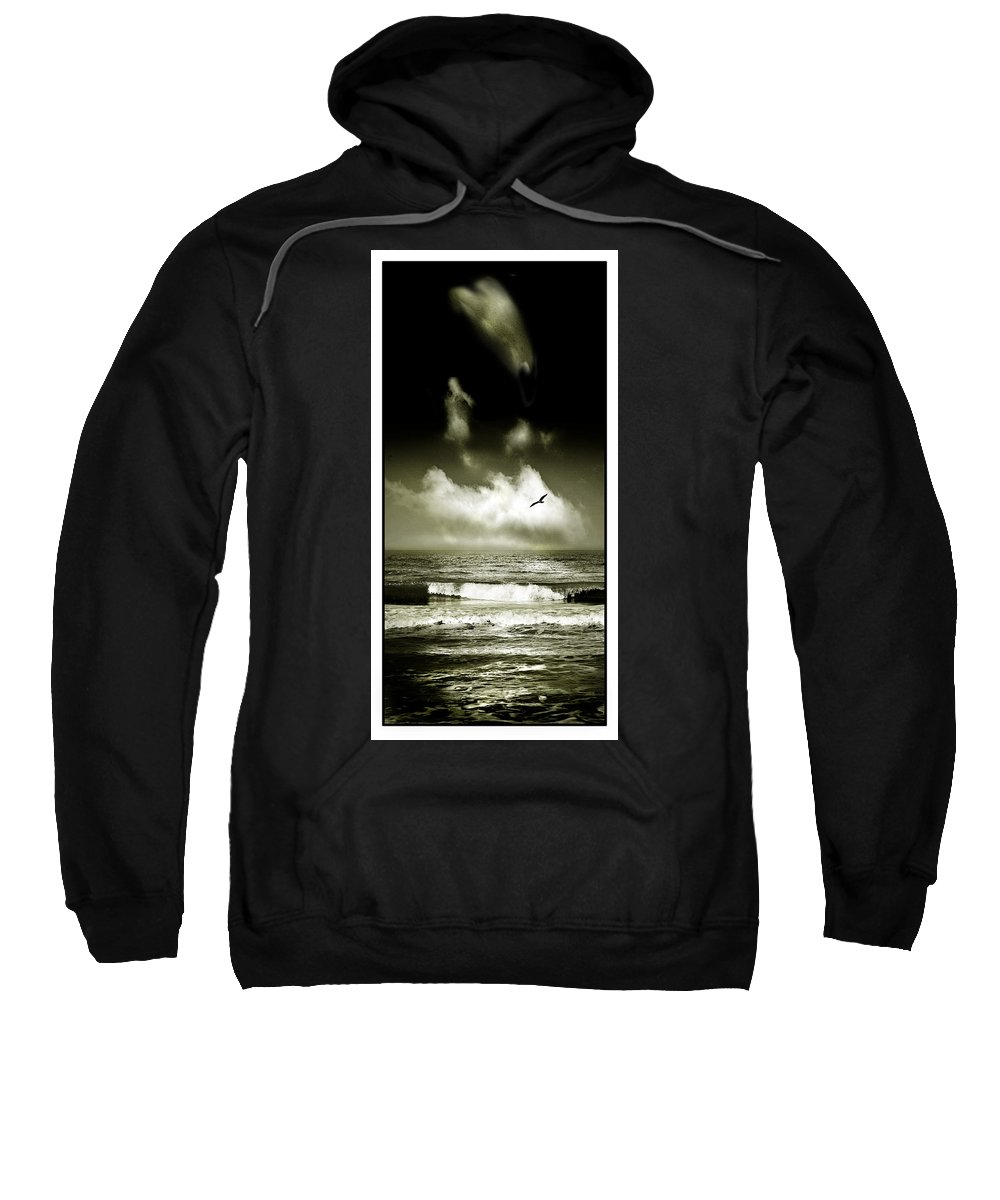 Waves Sweatshirt featuring the photograph Surf And Sky At Rhos On Sea North Wales by Mal Bray