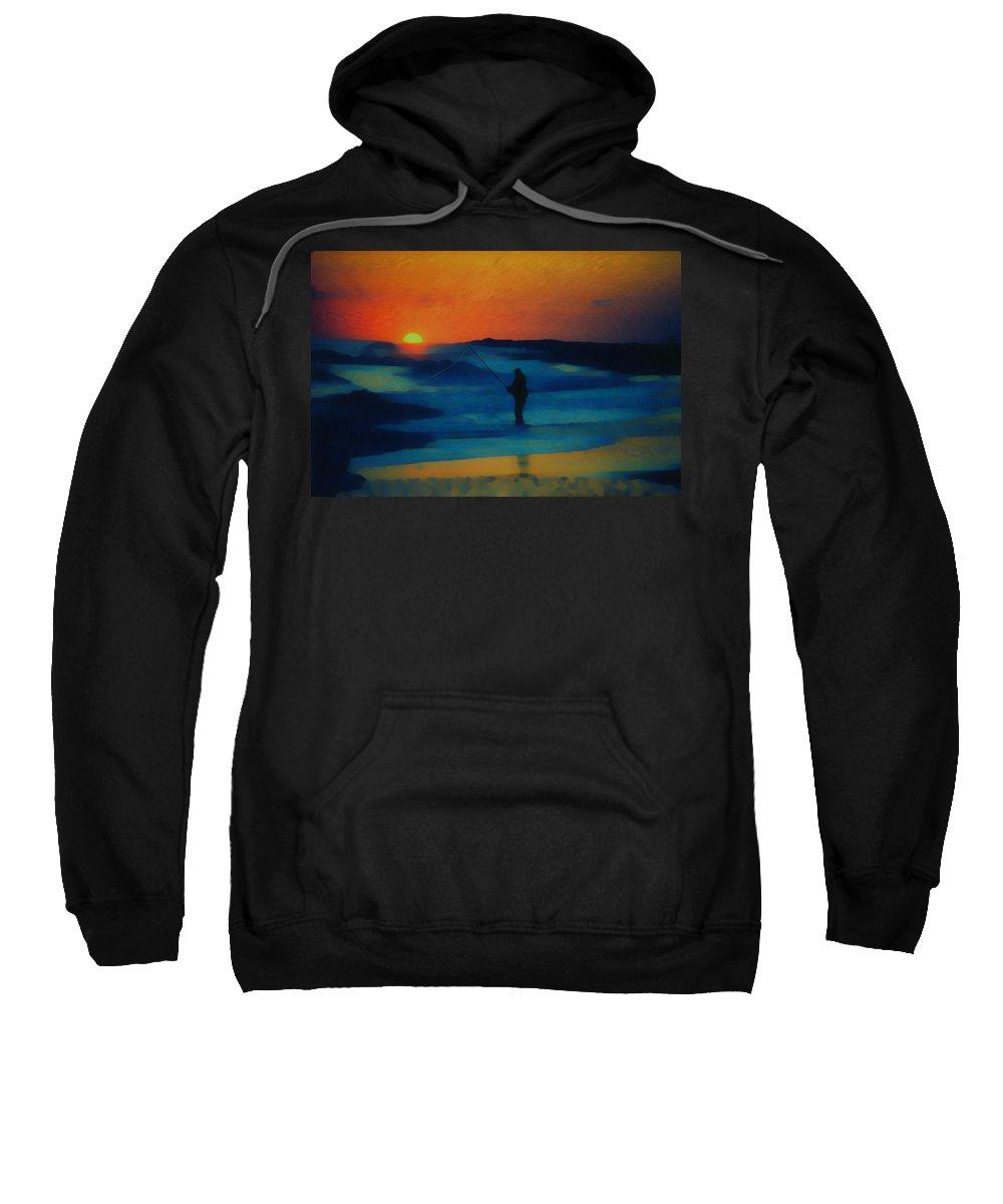 Digital Photograph Sweatshirt featuring the photograph Surf Fishing by David Lane