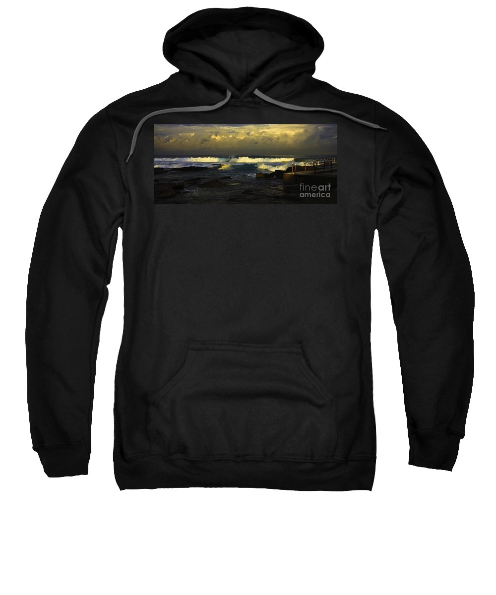 Landscape Seascape Surfing Surfer Storm Sweatshirt featuring the photograph Surfing The Storm by Sheila Smart Fine Art Photography