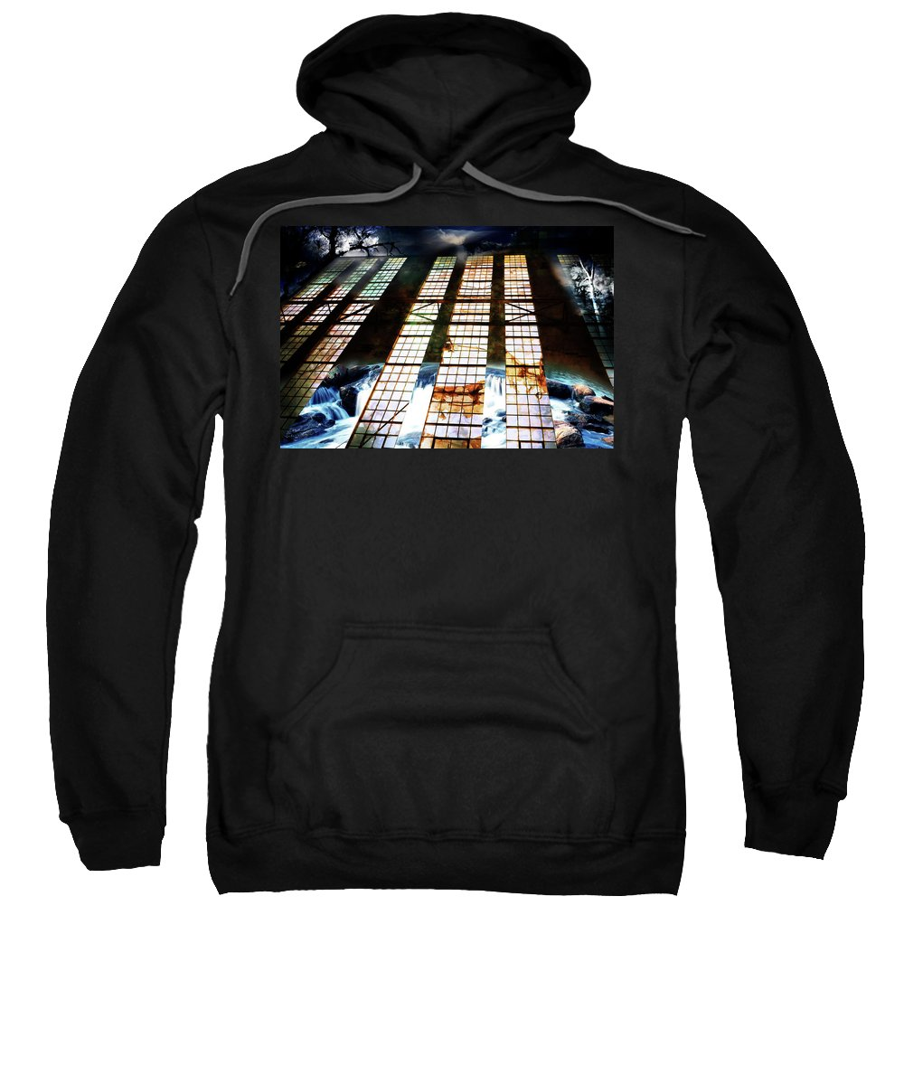 Surreal Sweatshirt featuring the digital art Surreal Nightscape by Phill Petrovic