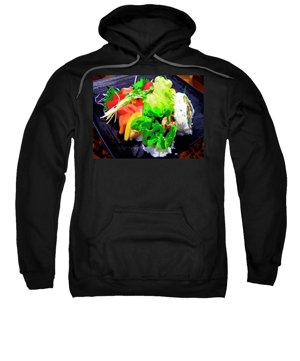 Sushi Plate Sweatshirt featuring the mixed media Sushi Plate 5 by Dominic Piperata
