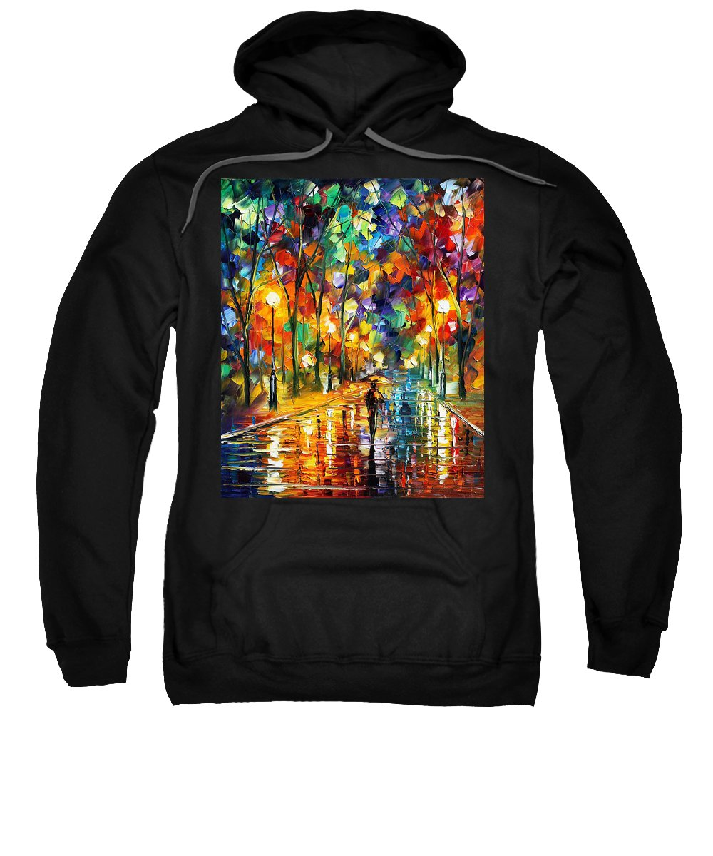 Afremov Sweatshirt featuring the painting Sweet Night by Leonid Afremov