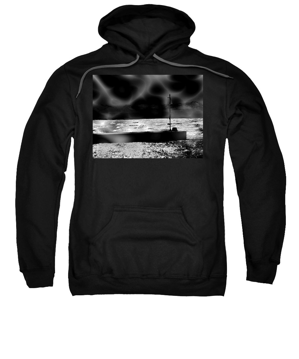 Water Sweatshirt featuring the digital art Swimming In The Storm. by Abstract Angel Artist Stephen K