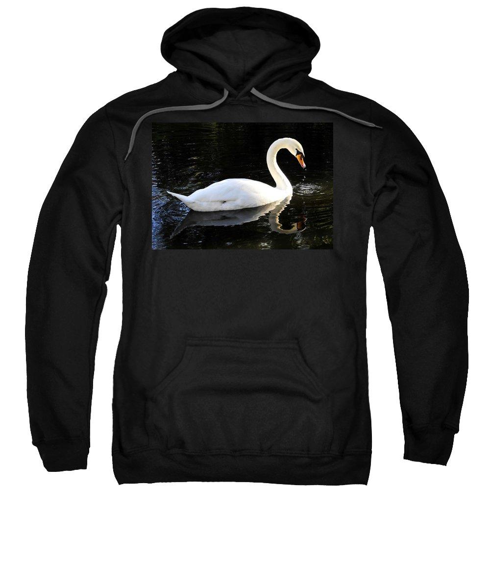 Swan Sweatshirt featuring the photograph Swimming Swan by David Lee Thompson