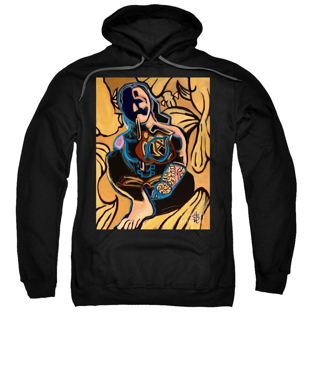 Fish Goldfish Fins Gold Thinking Reading Swimming Sweatshirt featuring the painting Swimming by Tiffany Brazell