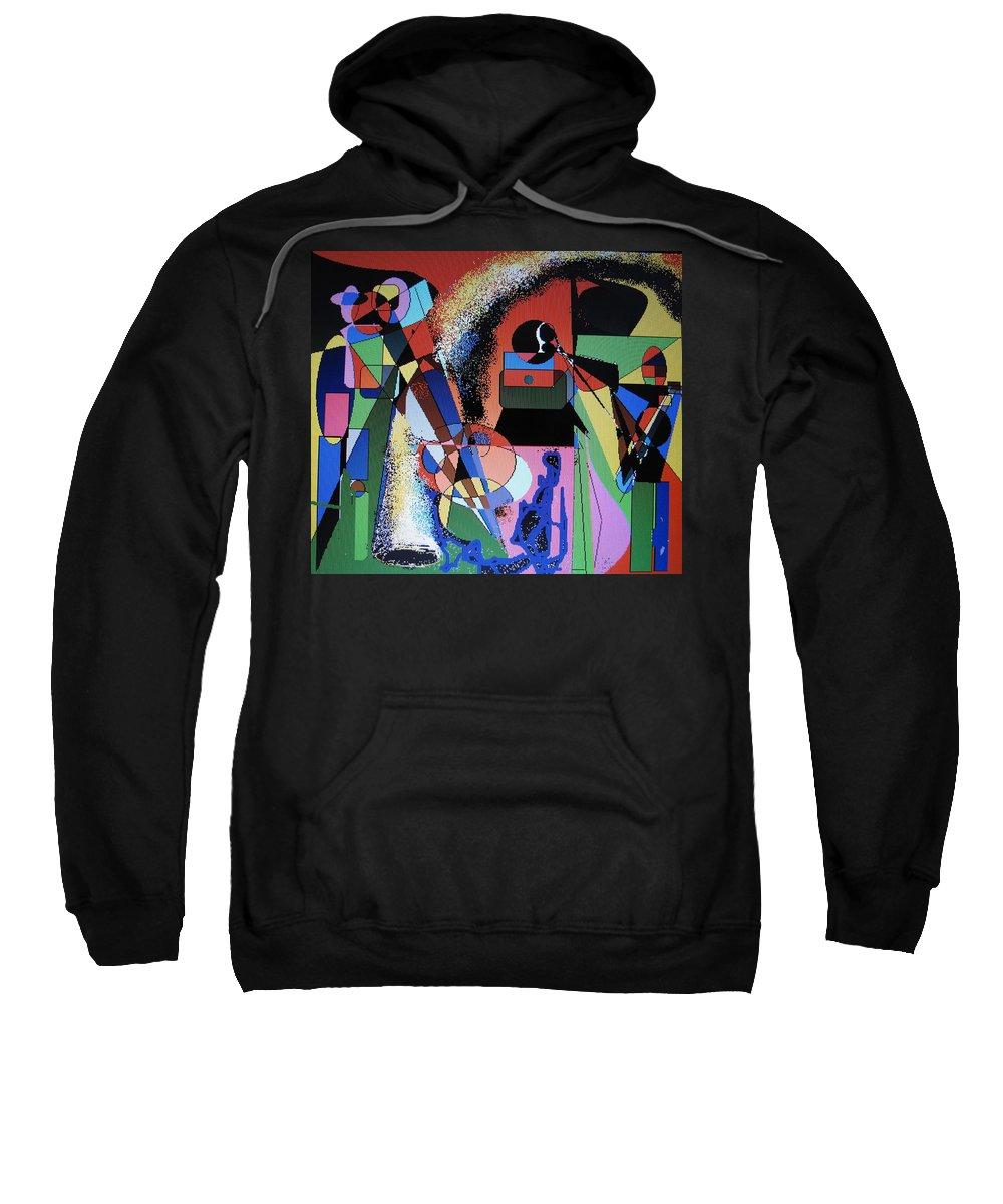 Jazz Sweatshirt featuring the digital art Swinging Trio by Ian MacDonald