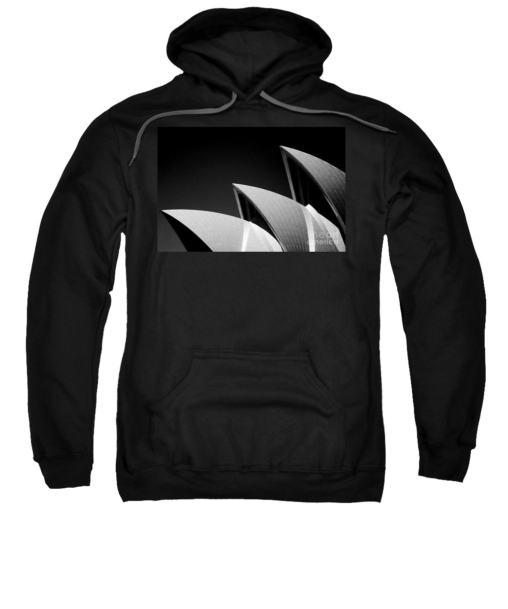 Sydney Opera House Iconic Building Black And White Monochrome Sweatshirt featuring the photograph Sydney Opera House by Sheila Smart Fine Art Photography
