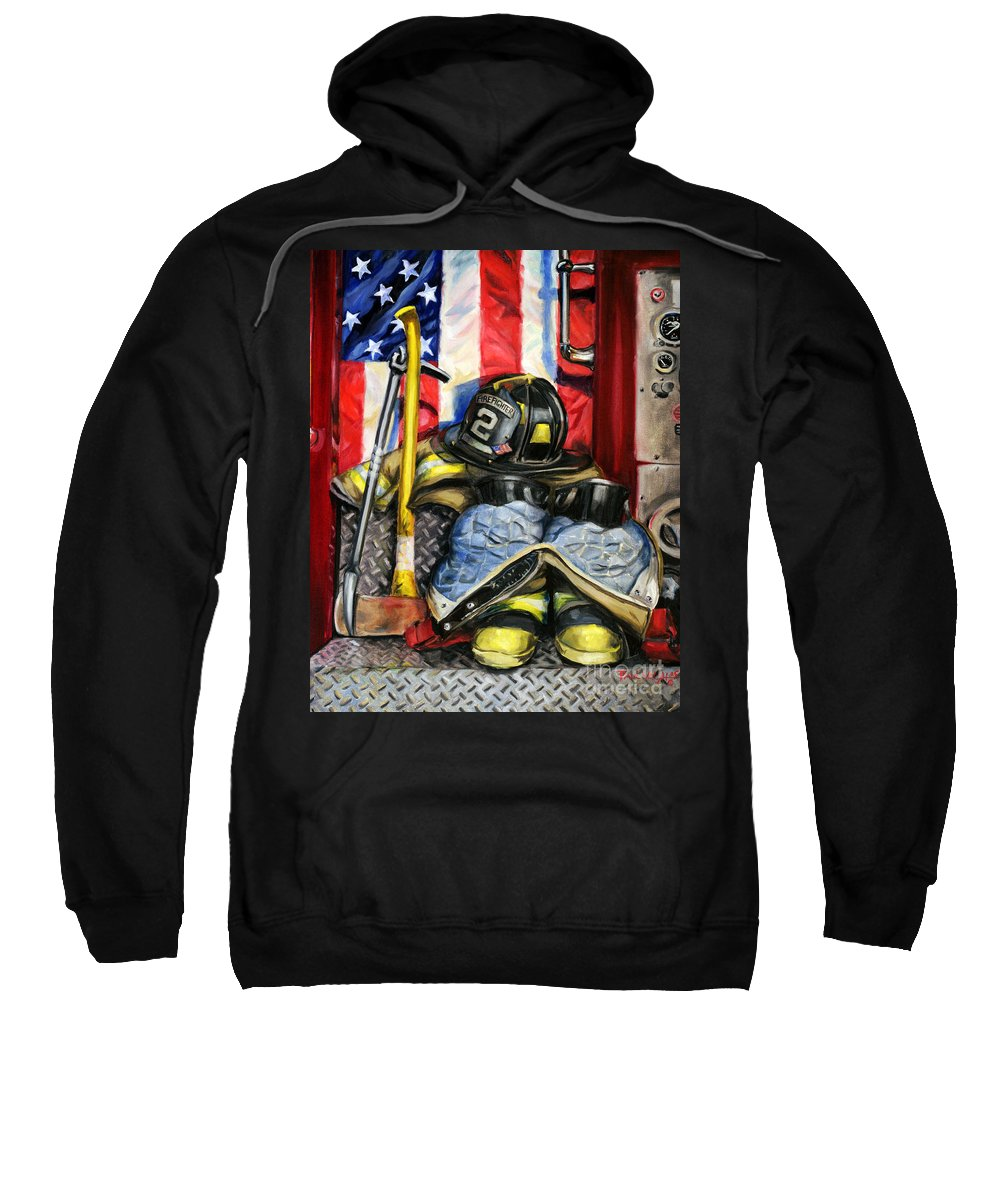 Firefighting Sweatshirt featuring the painting Symbols Of Heroism by Paul Walsh