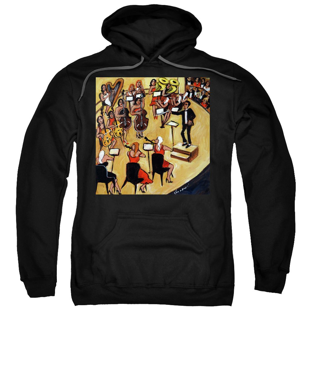 Carnegie Hall Orchestra Sweatshirt featuring the painting Symphony by Valerie Vescovi