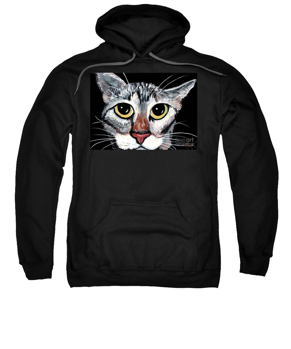 Cat Sweatshirt featuring the painting Tabby Eyes by Elaine Hodges