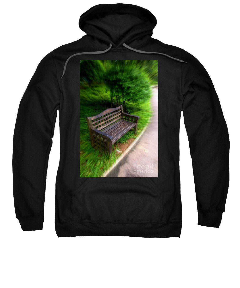 Bench Sweatshirt featuring the photograph Take A Pause In Your Busy Life by Charuhas Images