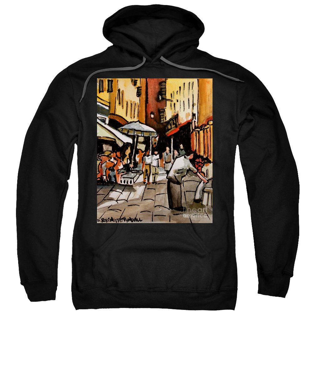 Downtown Sweatshirt featuring the painting Taking A Stroll Through Downtown by Elizabeth Robinette Tyndall