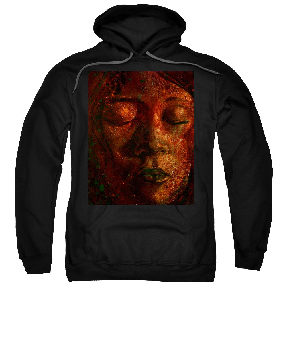 Portraiture Art Sweatshirt featuring the painting Talia by Laura Pierre-Louis