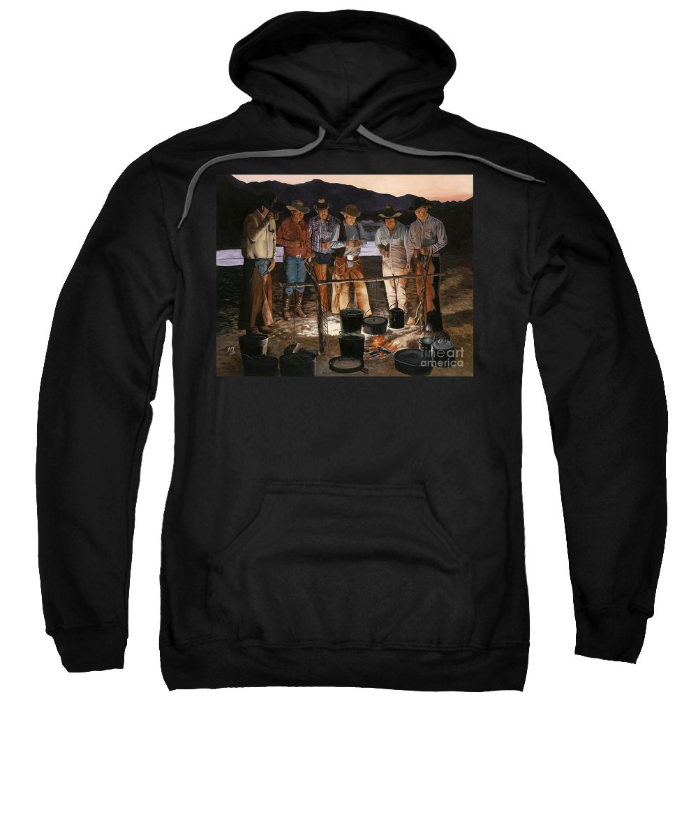Arizona Sweatshirt featuring the painting Tall Tales by Mary Rogers