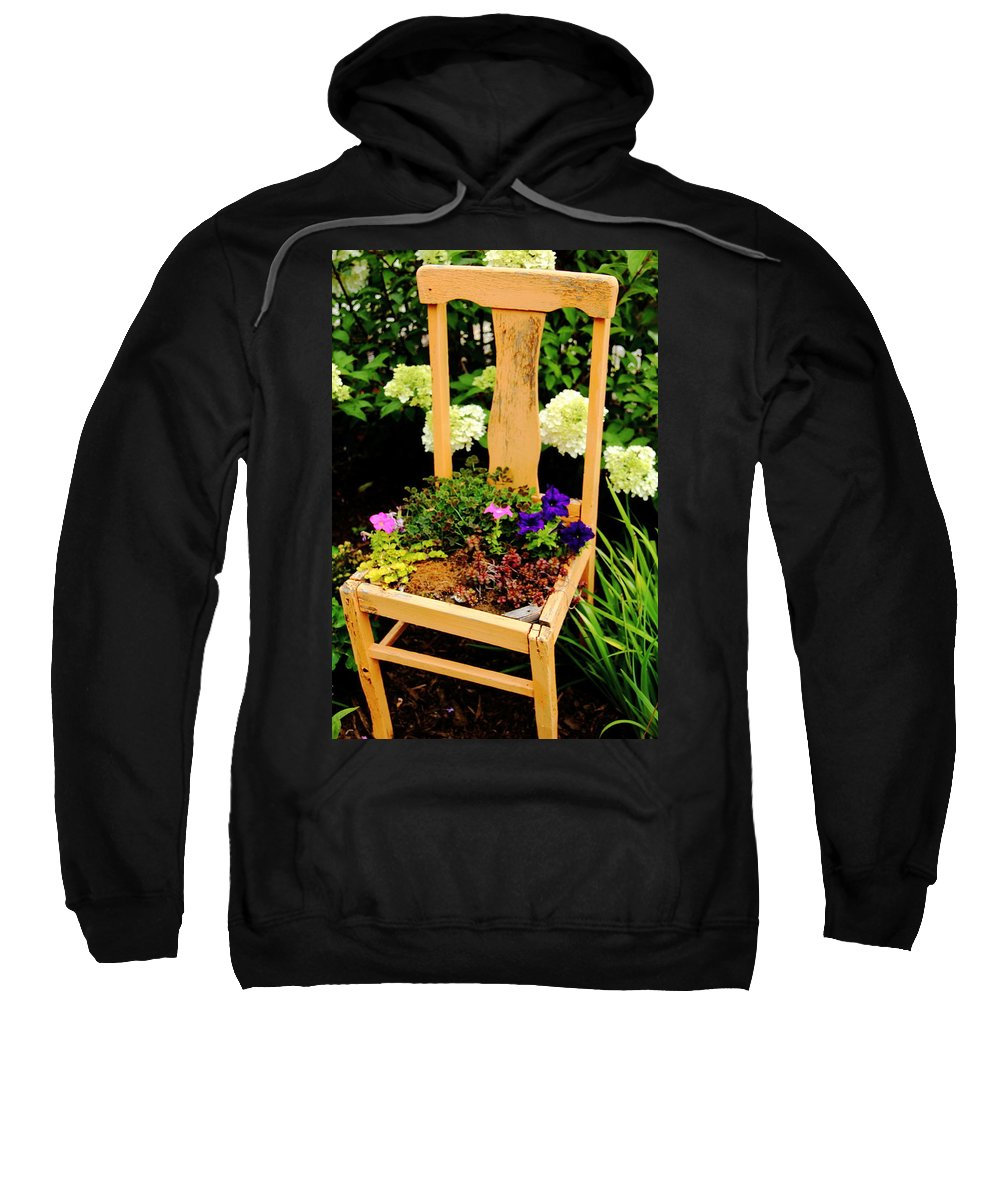 Chair Sweatshirt featuring the photograph Tan Chair Planter by Allen Nice-Webb