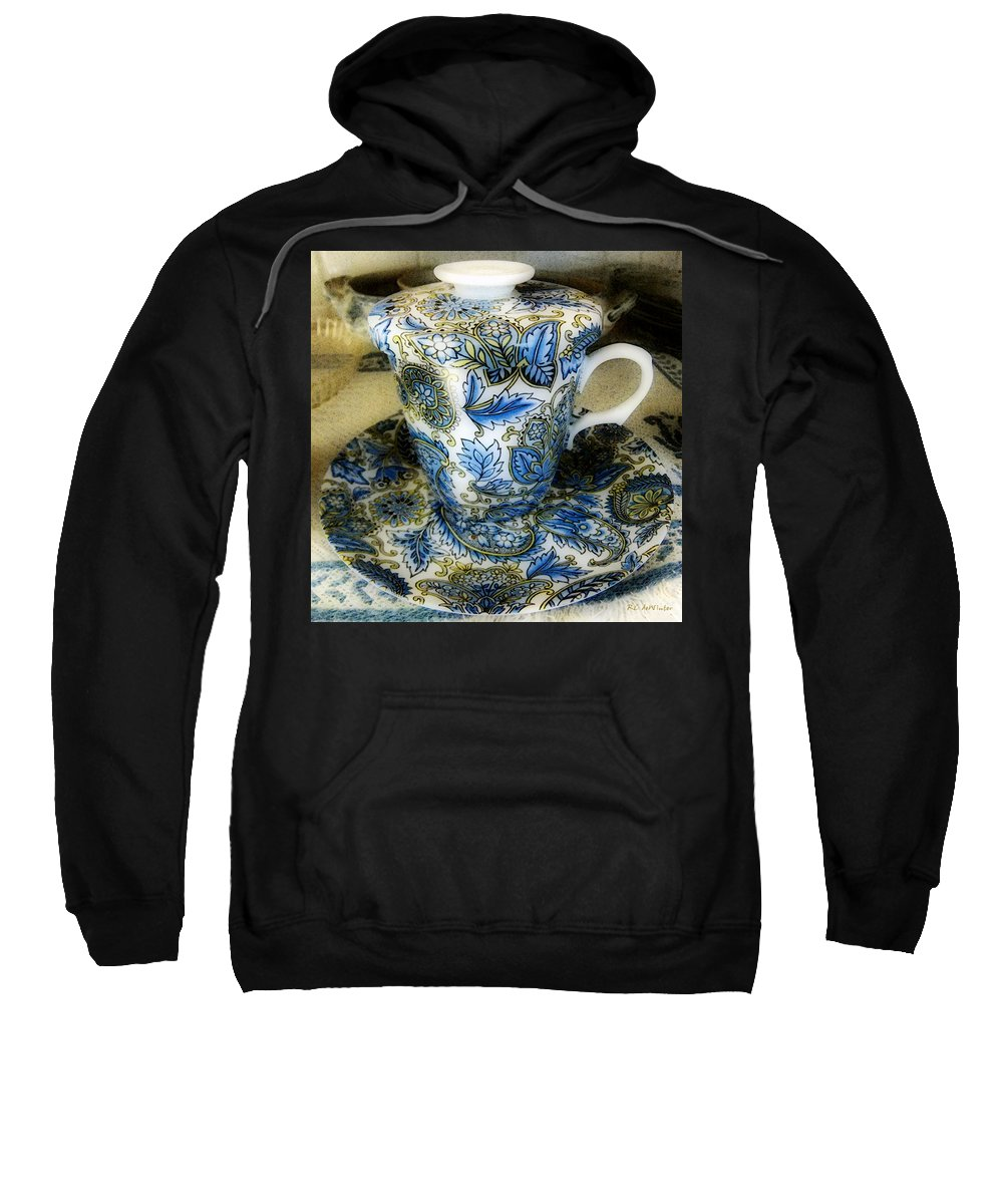 Asian Sweatshirt featuring the digital art Tea Is Served by RC DeWinter