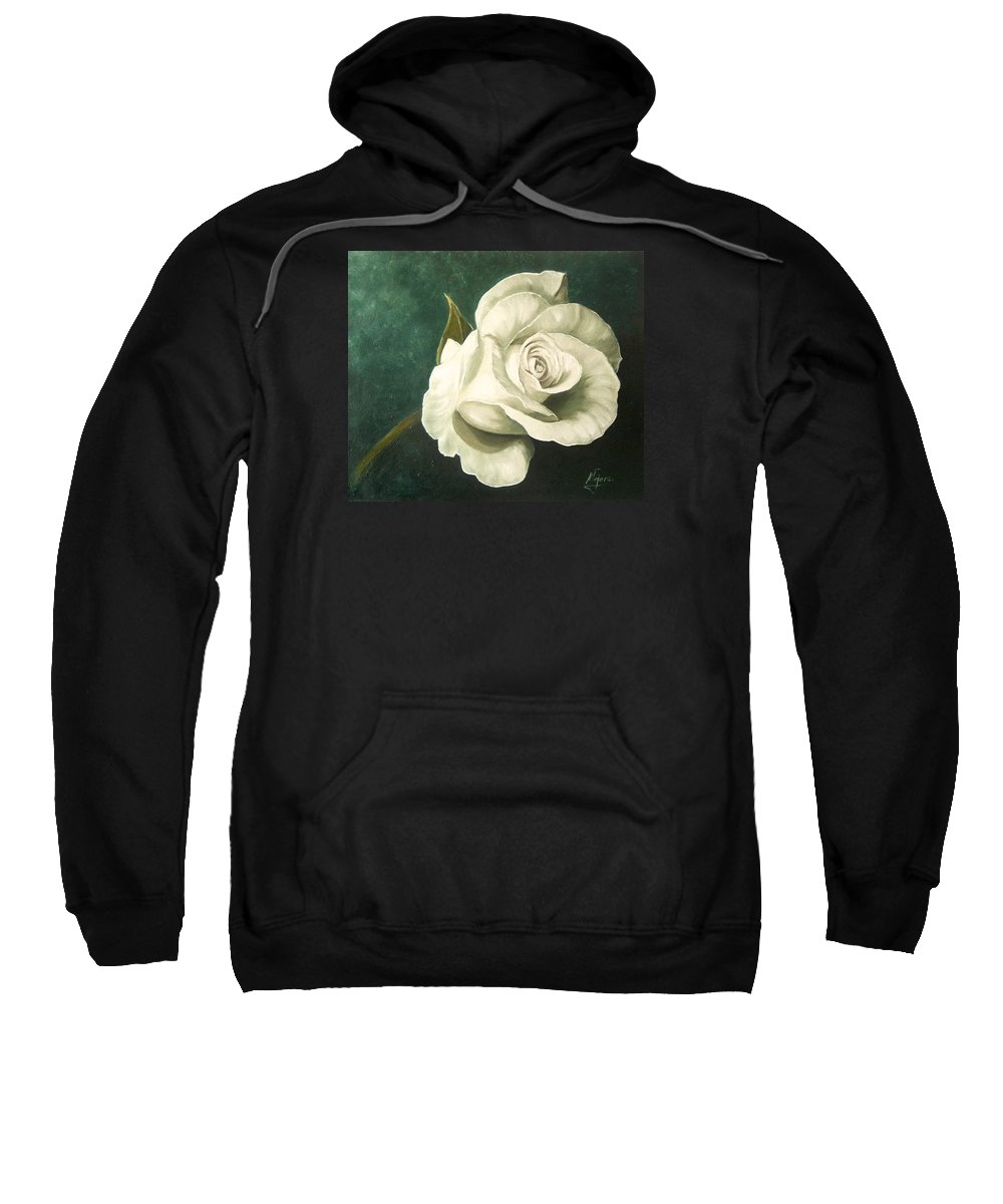 Rose Flower Still Life White Sweatshirt featuring the painting Tea Rose by Natalia Tejera