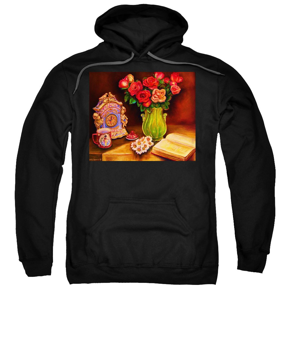 Impressionism Sweatshirt featuring the painting Teacup And Roses by Carole Spandau