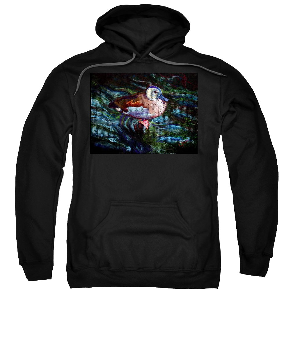 Teal Duck Sweatshirt featuring the painting Teal Duck Of Naples by Laurie Paci