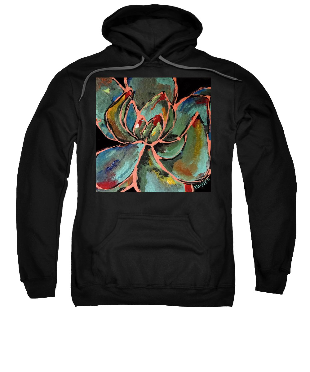 Succulent Sweatshirt featuring the painting Teal Pink Succulent by Maggie Turner