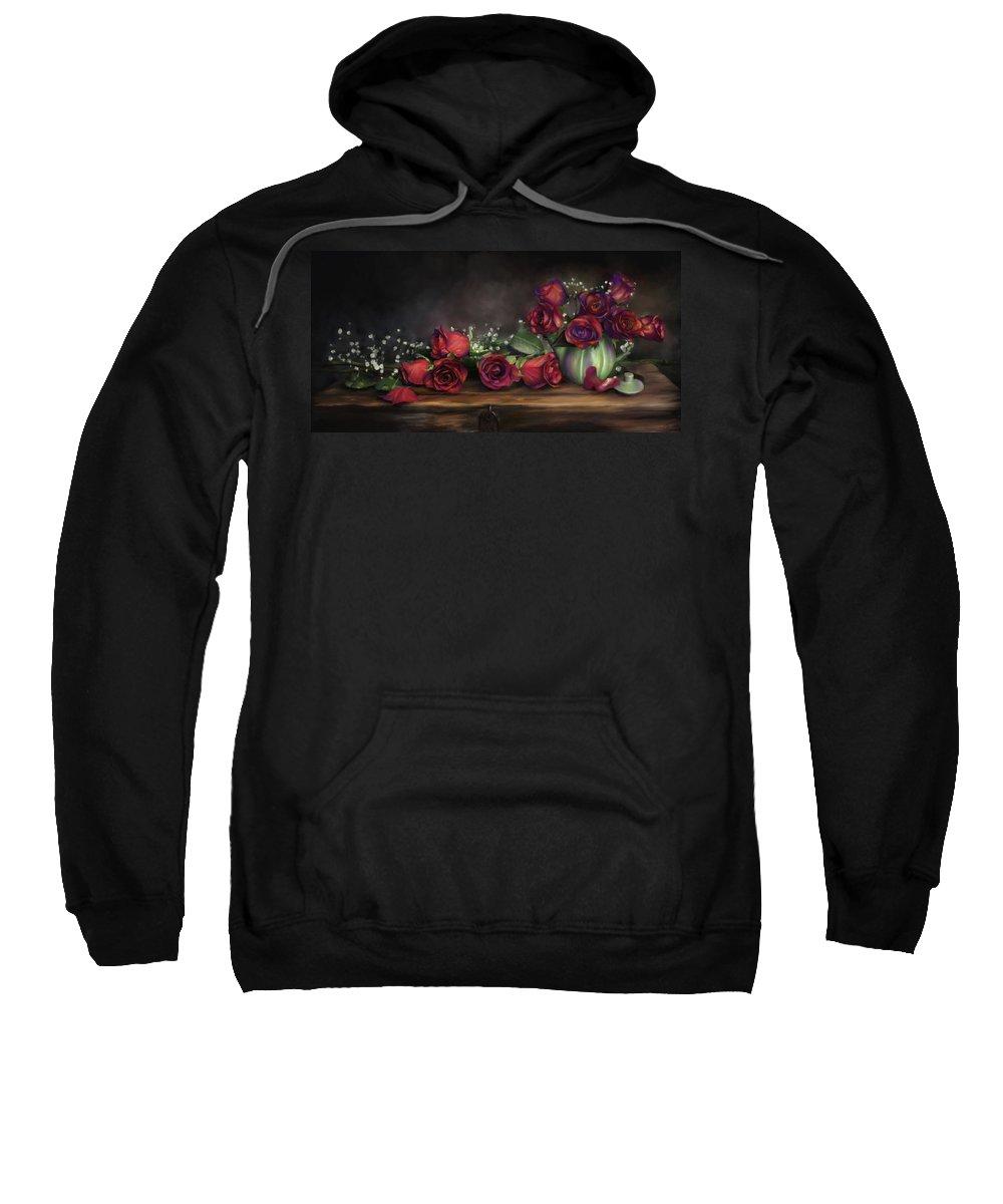 Digital Painting Sweatshirt featuring the digital art Teapot Roses by Susan Kinney