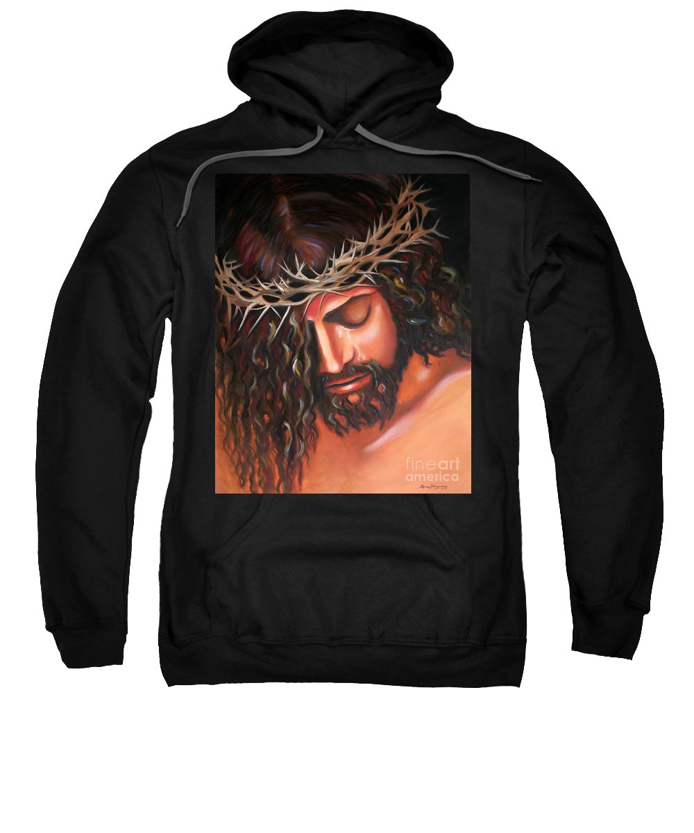 Crown Of Thorns Sweatshirt featuring the painting Tears From The Crown Of Thorns by Lora Duguay