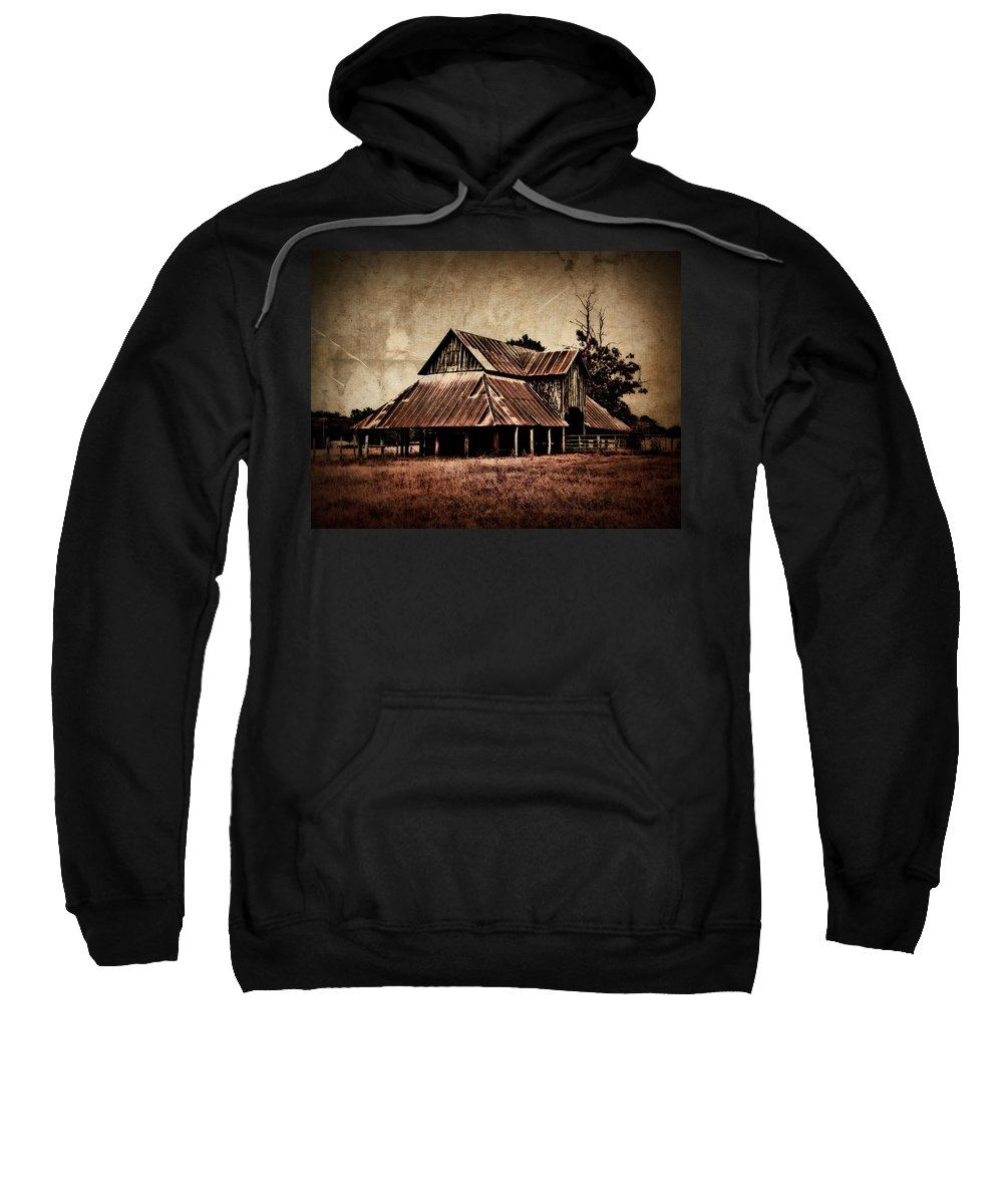 Barn Sweatshirt featuring the photograph Teaselville Texas Barns by Julie Hamilton