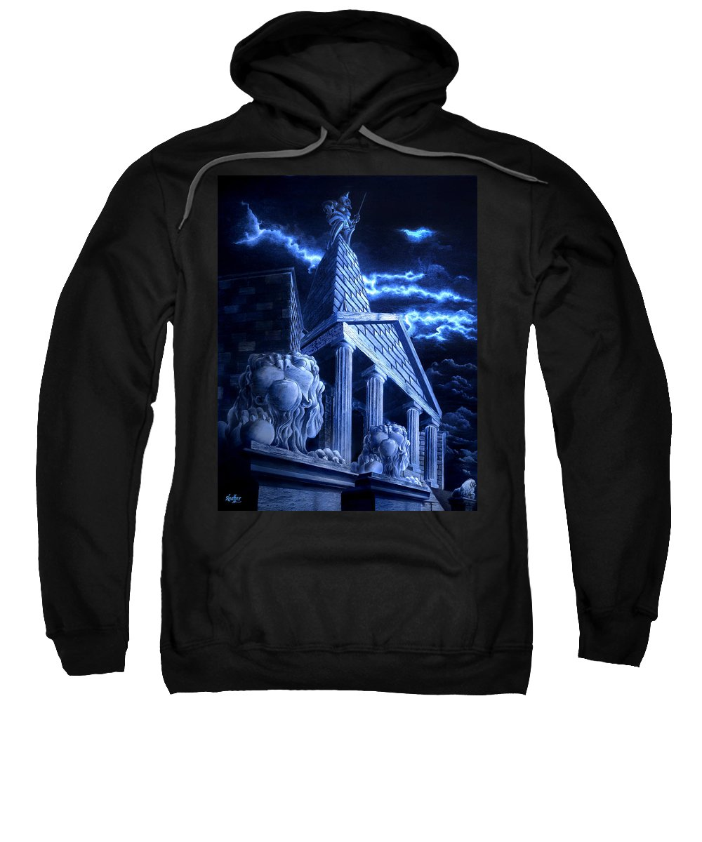 Hercules Sweatshirt featuring the drawing Temple Of Hercules In Kassel by Curtiss Shaffer