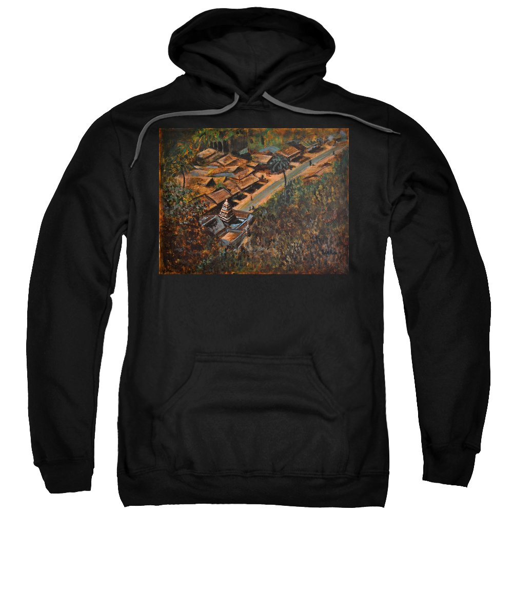 Temple Sweatshirt featuring the painting Temple Town by Usha Shantharam