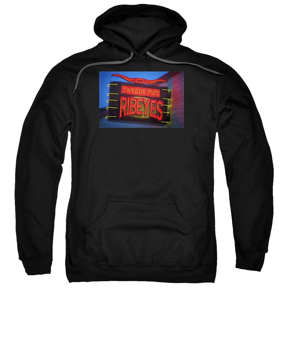 Joan Carroll Sweatshirt featuring the photograph Texas Impressions Sweetie Pie's Ribeyes by Joan Carroll