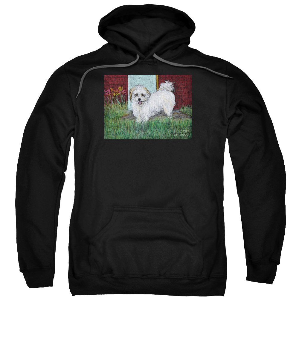 White Dogs Sweatshirt featuring the pastel That Little White Dog by Reb Frost