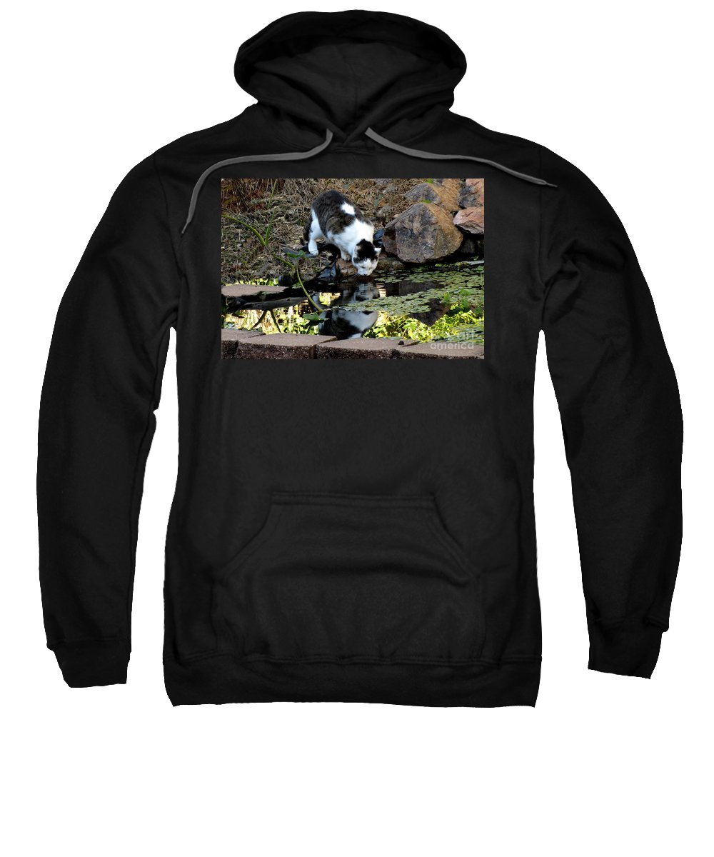 Cat Sweatshirt featuring the photograph That My Reflection by Donna Brown