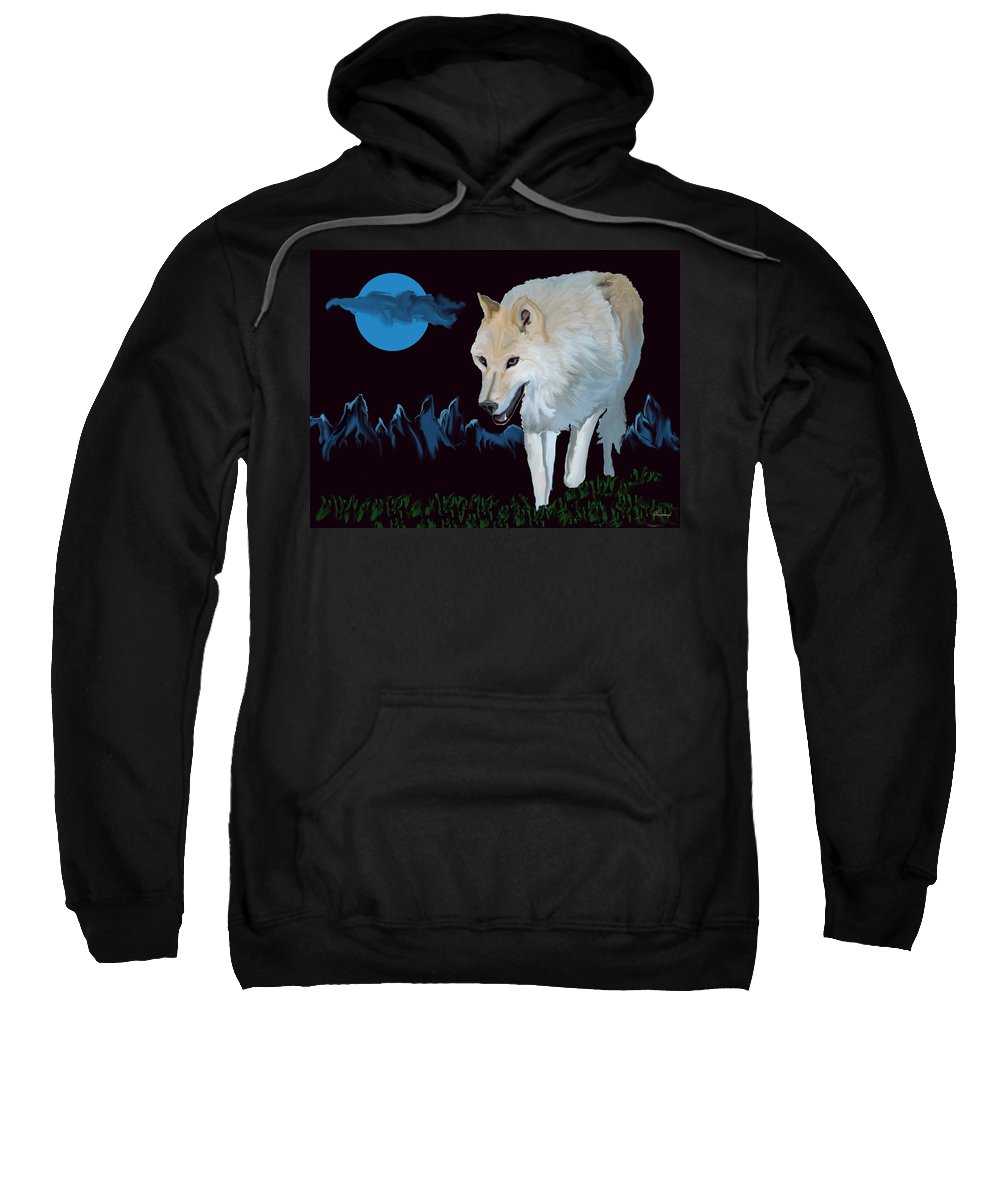 Wolf Moon Night Mountain Drawing Dark Blue Wild Animal Nature Sweatshirt featuring the digital art That Wolf by Andrea Lawrence