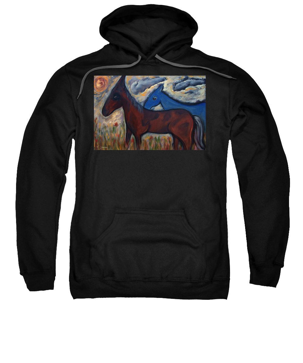 Katt Yanda Original Horse Oil Painting Mexican Themed Sunset Dusk Flower Field Brown Blue Horse Clouds Sweatshirt featuring the painting The 1st Mexican Ponies by Katt Yanda