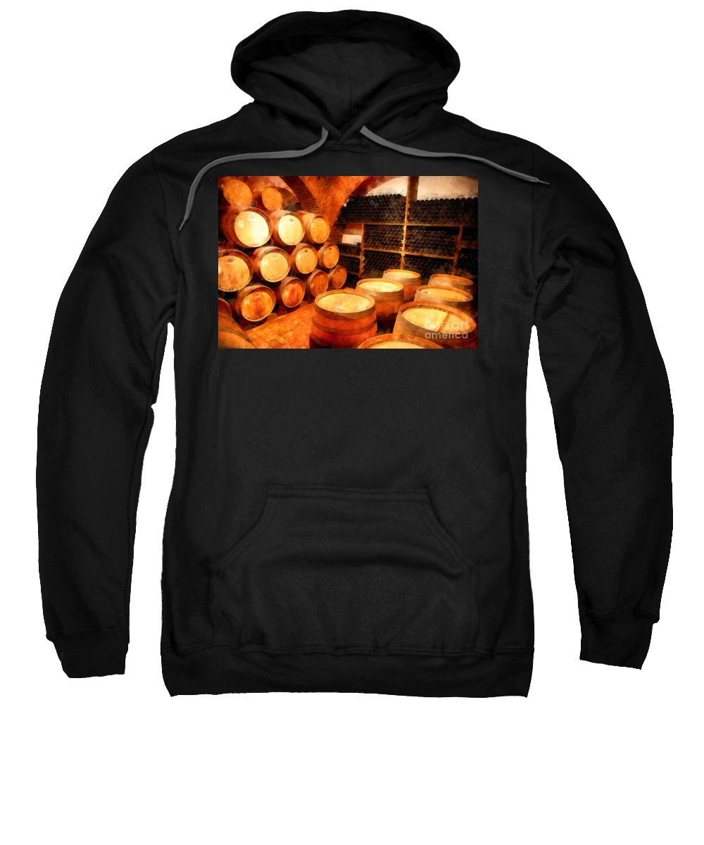 Wine Sweatshirt featuring the photograph The Aging Room by Edward Fielding