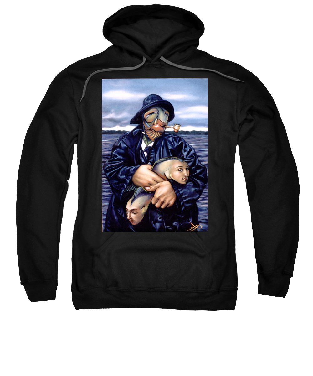 Fisherman Sweatshirt featuring the painting The Ancient Mariner by Patrick Anthony Pierson