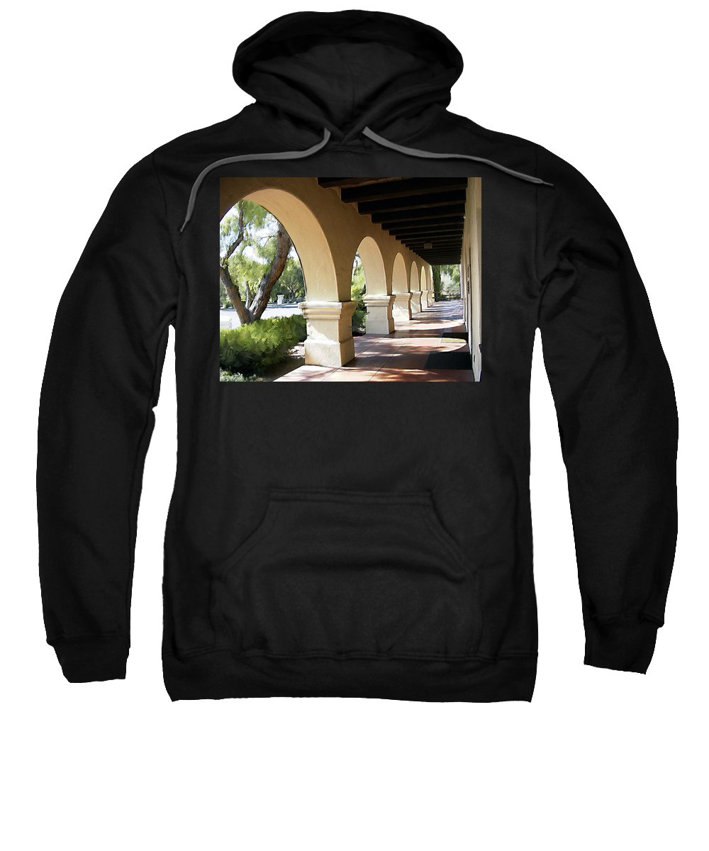 Mission Sweatshirt featuring the photograph The Arches Mission Santa Ines by Kurt Van Wagner
