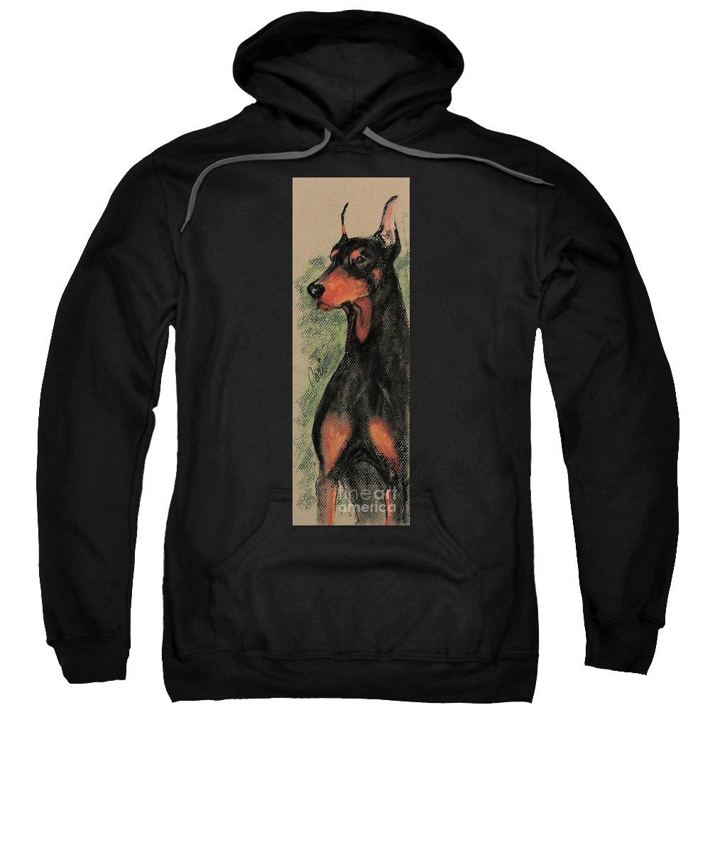 Doberman Pinscher Sweatshirt featuring the drawing The Aristocrat by Cori Solomon