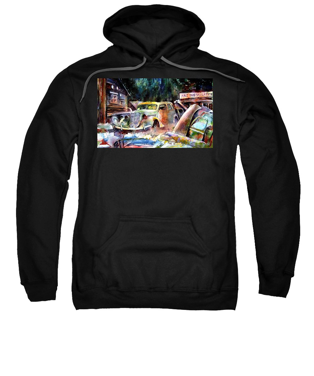 Cars Sweatshirt featuring the painting The Art Installation by Ron Morrison