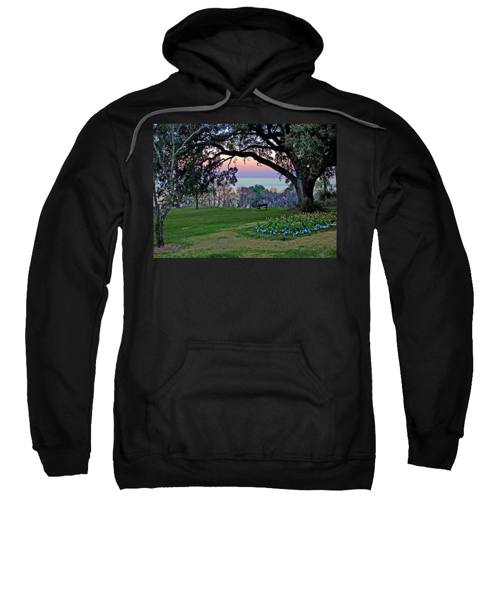 Fairhope Sweatshirt featuring the painting The Bay View Bench by Michael Thomas