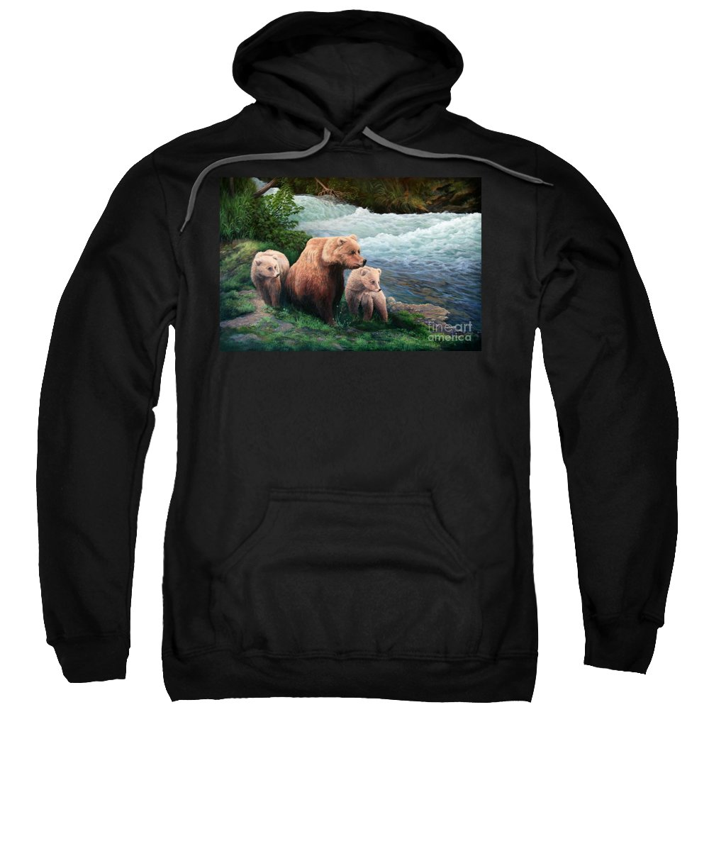 Bears Sweatshirt featuring the painting The Bears Of Katmai by Lorna Allan