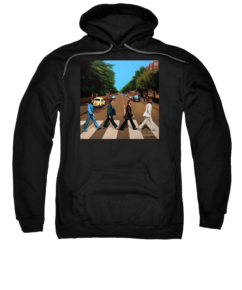 The Beatles Sweatshirt featuring the painting The Beatles Abbey Road by Paul Meijering