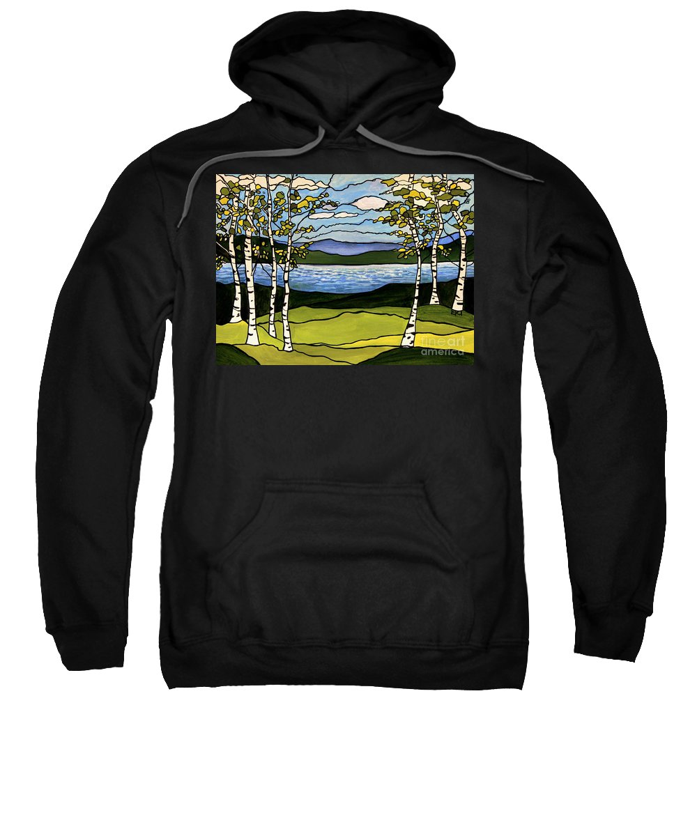 Birch Trees Sweatshirt featuring the painting The Birches by Elizabeth Robinette Tyndall